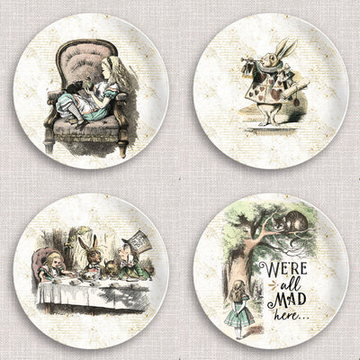 "Alice in Wonderland Dinnerware Plates. 10"" dinner plate made from revolutionary highly-durable ThermoSāf® Polymer which is significantly heavier than melamine dinnerware, making for a more quality feel. Made in the U.S.A."