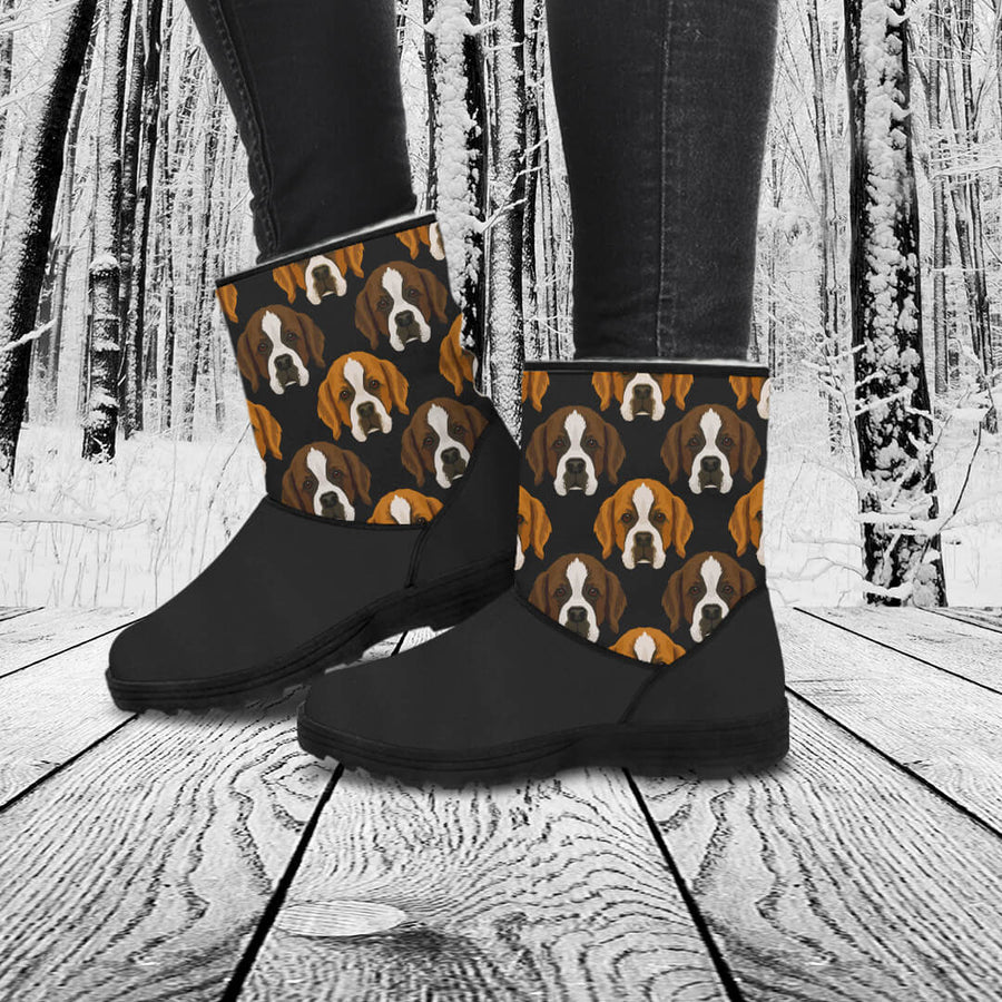 St Bernard Lovers Eco-Friendly & Vegan-Friendly Faux Fur Boots for Women (Cruelty Free!)