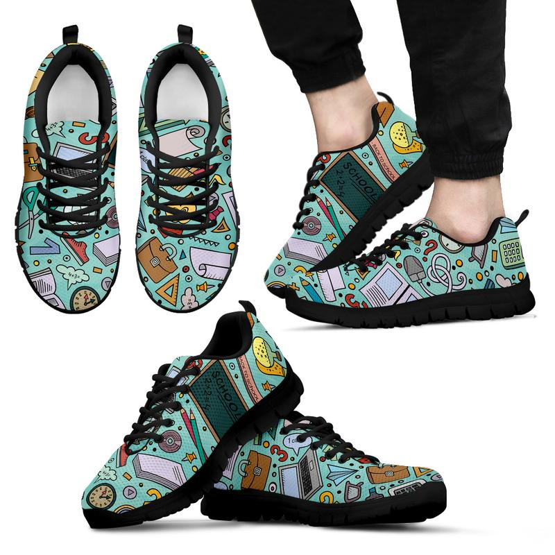 Teacher Themed Sneakers for Men - Turquoise