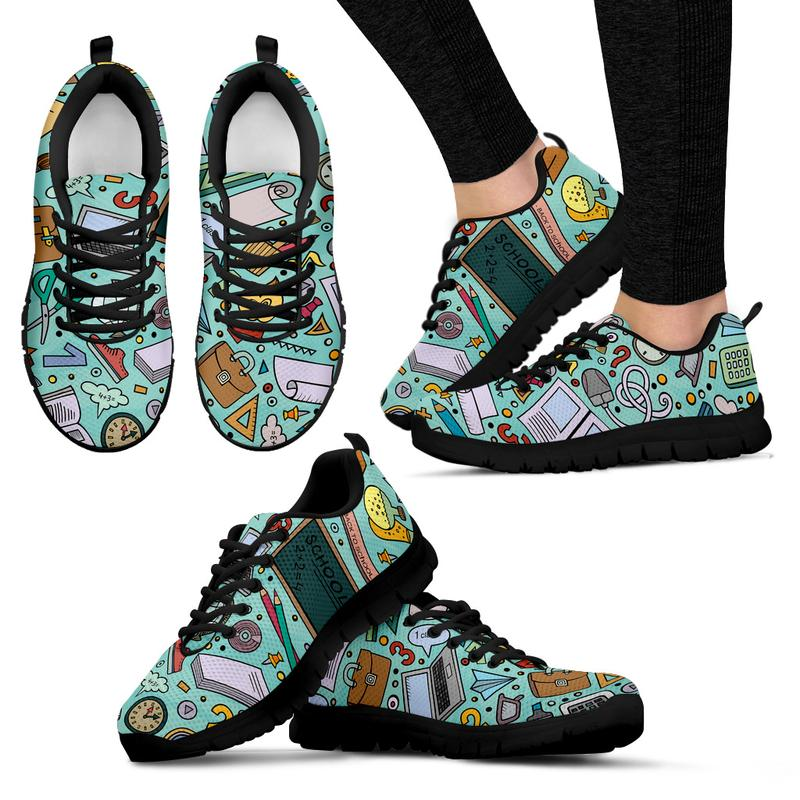 Teacher Themed Sneakers for Women - Turquoise. Click this image for more details!