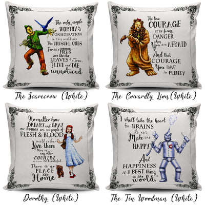 The Wizard of Oz Throw Pillow Set Scatter Cushion Covers with L. Frank Baum Quotes