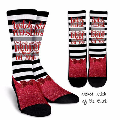 "The Wizard of Oz Socks | The Wicked Witch of the East Black & White Striped Socks: ""Don't make me drop a house on you!"""