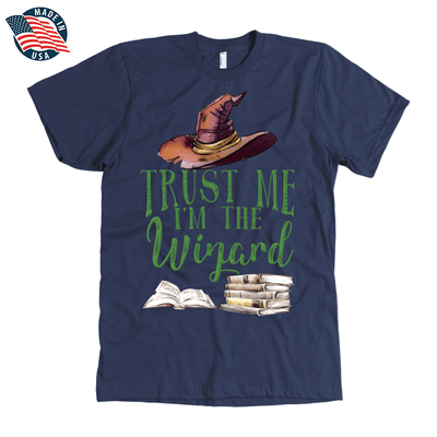 """Trust Me I'm The Wizard"" American Apparel Mens Shirt in Navy"