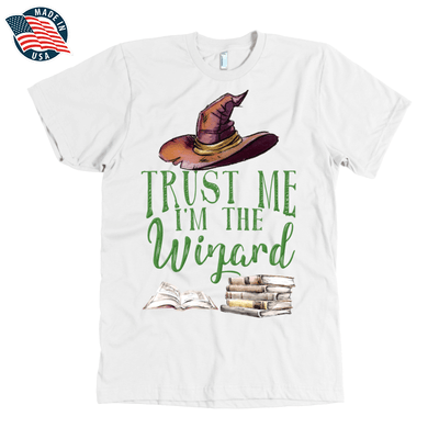 """Trust Me I'm The Wizard"" American Apparel Mens Shirt in White"