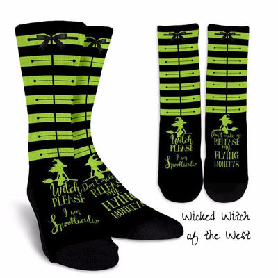 The Wizard of Oz Wicked-Inspired Wicked Witch of the West Elphaba Green & Black Striped Socks