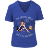 """You Say I'm A Witch Like It's Bad Thing"" Witch T-Shirt (Blue Women's V-Neck)"