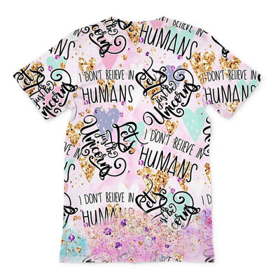 'I don't believe in humans' Unicorn-Pug-Mermaid Unisex Tee Shirt. Click this image for more details!