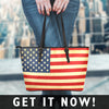 'Great America' Rustic American Flag Small Faux Leather Tote Bag