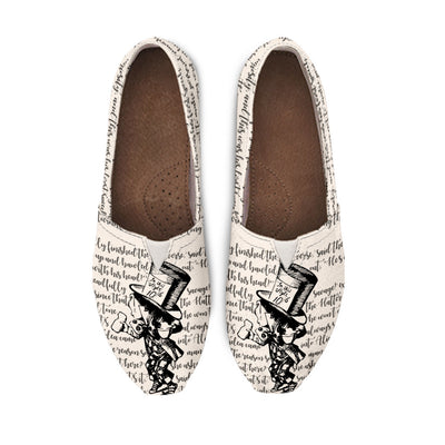 Alice in Wonderland Mad Hatter Casual Bookish Shoes for Women (Linen White and Black)