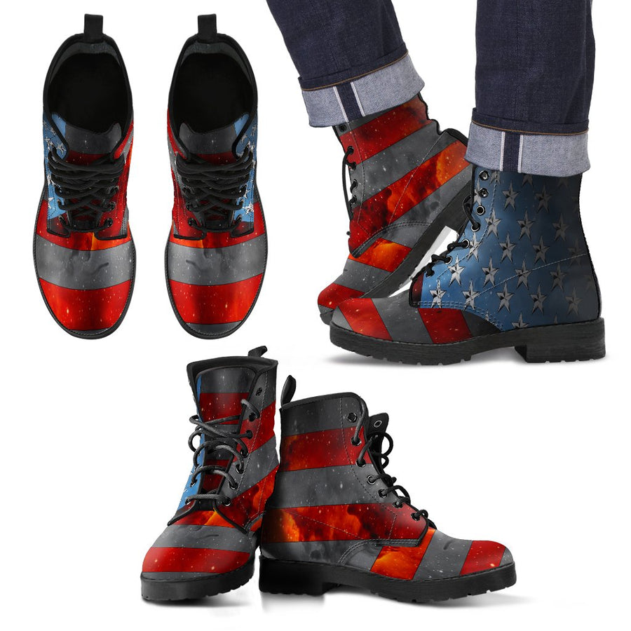 American Flag Boots for Men – Patriotic Boots - Space Flag Boots