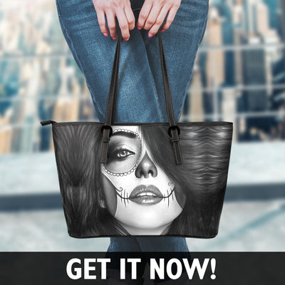 Calavera Girl Faux Leather Tote Bag in Black & White