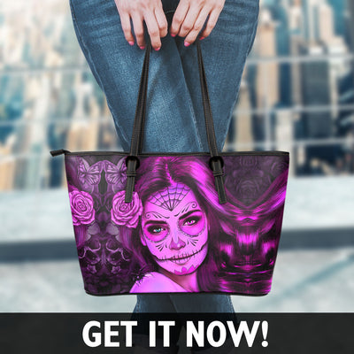 Calavera Girl Faux Leather Tote Bag in Pink