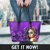 Calavera Girl Faux Leather Tote Bag in Purple