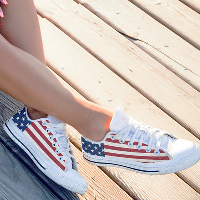 Patriotic American Flag Low-Top Canvas Shoes for Women