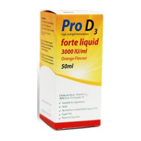 Pro D3 Forte 3000IU Vitamin D3 Liquid 50ml Vitamin D3 Colecalciferol Supplement
