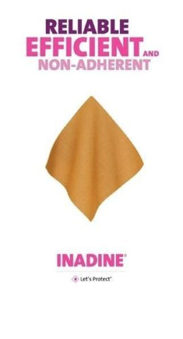 Inadine 9.5cm x 9.5cm Non Adherent Wound Dressing, Pov-Iodine, AntiMicrobial