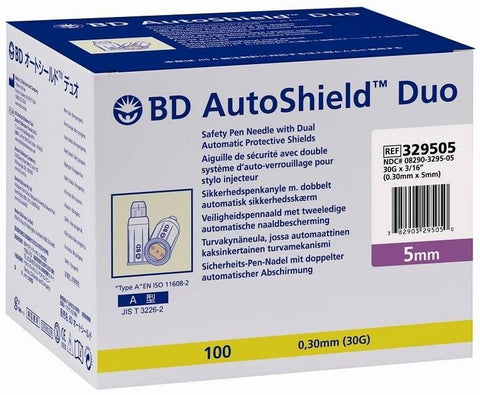 BD Autoshield Duo Safety Pen Needles 5mm 30G x 100 Syringes - BD Autoshield
