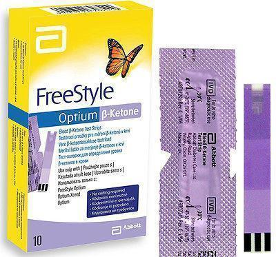 FreeStyle Optium Beta Ketone Test Strips (Pack 10) Diabetes Glucose Sugar Check Test Strips - Freestyle Ketone