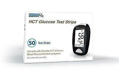 GlucoRx GlucoRx HCT Glucose Test Strips - Pack of 50 Test Strips