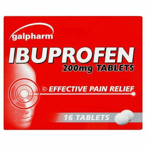 Galpharm Ibuprofen 200mg CAPLETS Pain Relief Tablets 16 | MAX 2 Packs/Order
