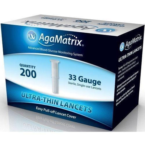 AgaMatrix Ultra-Thin Lancets 33G x 200 New AgaMatrix- EasyMeds Healthcare LTD