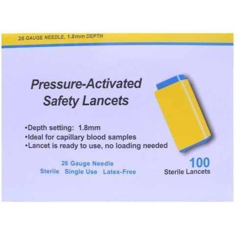 Apollo Pressure-Activated Safety Lancets 26G x 100 New Apollo- EasyMeds Healthcare LTD