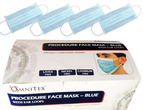 Omnitex 3ply Fluid Resistant Type II Surgical Face Mask/Ear Loops (Pack of 50)