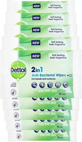 Dettol 2-in-1 Antibacterial On-the-Go  Wipes for Hands and Surfaces, 9 x 15 wipes, Total 135 Wipes