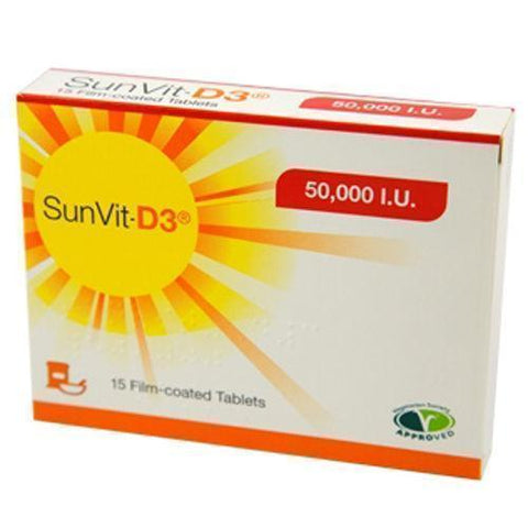 SunVit SunVit-D3 Vitamin 50000IU Film Coated Tablets x 15