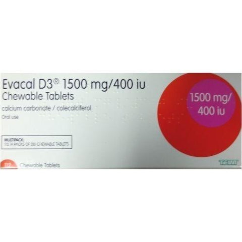 Teva Evacal D3 1500mg/400iu Chewable Tablets x 112