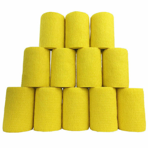 Inksafe Yellow Self Adherent Cohesive Bandages 7.5cm x 4.5cm x 12