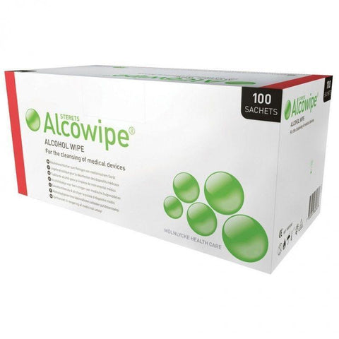 Molnlycke Sterets Alcowipe Sterile Rubber Latex Free Alcohol Wipes x 100
