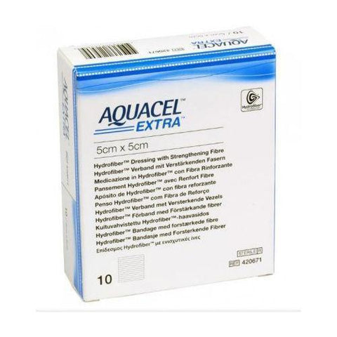 Aquacel Extra Hydrofiber Dressing 5cm x 5cm x10 (Ulcers, Post-Op, Burns) Wound Dressings Convatec- EasyMeds Healthcare LTD