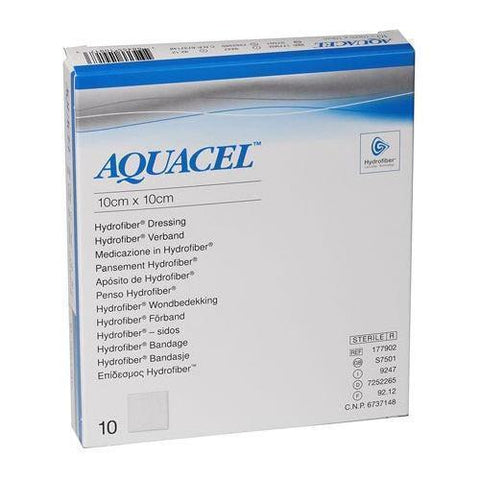 Aquacel Hydrofiber Dressing 10cm x 10cm x10  (Ulcers, Post-Op, Burns) Wound Dressings Convatec- EasyMeds Healthcare LTD