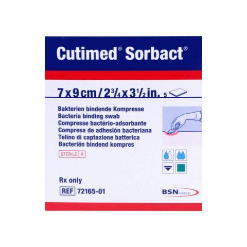 BSN Medical Cutimed Sorbact Dressings Swabs x 5 (Choose size) Antibacterial/Antifungal Ulcers Wounds