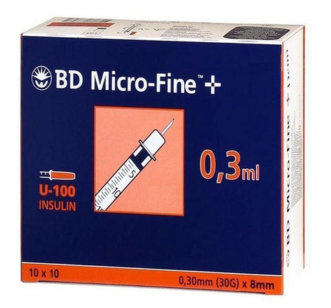 BD MicroFine + Plus 0.3ml U100 30G 8mm x 100 Ins U100 Becton Dickinson- EasyMeds Healthcare LTD