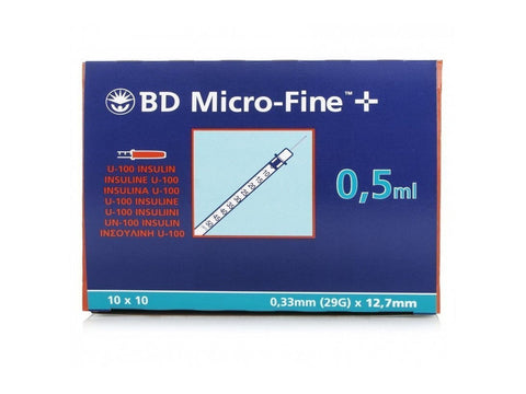 BD MicroFine + Plus 0.5ml U100 29G 12.7mm x 100 Ins U100 Becton Dickinson- EasyMeds Healthcare LTD
