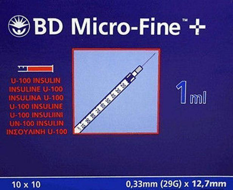 BD MicroFine + Plus 1ml U100 29G 12.7mm x 100 Ins U100 Becton Dickinson- EasyMeds Healthcare LTD