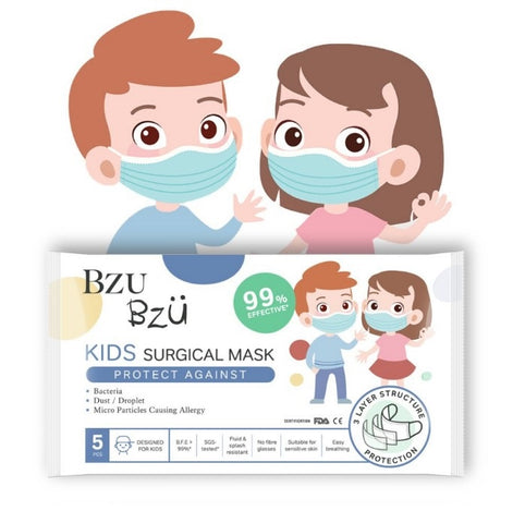 Kids Disposable 3-Ply Face Masks/Dust Mask - Pack of 5