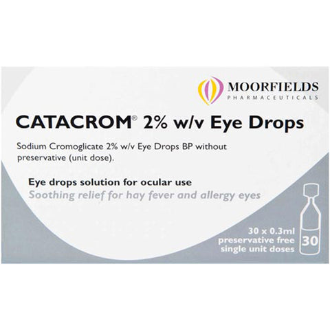 Catacrom 2% for Eye Drops Infections Treatment - 0.3ml Eye Drops Moorfields- EasyMeds Healthcare LTD