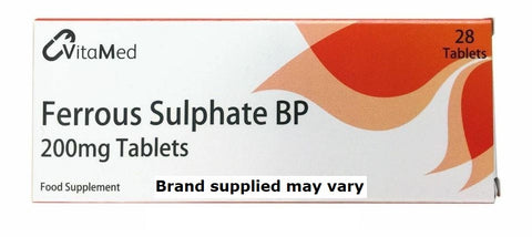 Ferrous Sulphate 200mg Iron Tablets - Packs of 28 Multi Quantity (Max 6 packs)