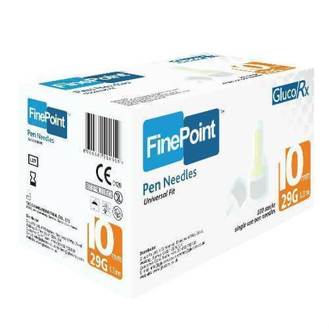 GlucoRx FinePoint Ins Pen Needles x 100 10mm 29G Pen Needles - GlucoRx Finepoint