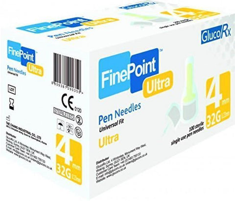 GlucoRx FinePoint Ultra Ins Pen Needles x 100 4mm 32G Pen Needles - GlucoRx Finepoint