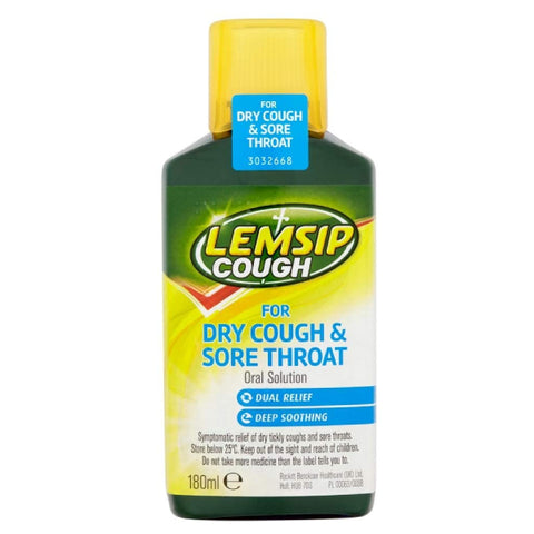 Lemsip Dry Cough & Sore Throat Oral Solution 180ml