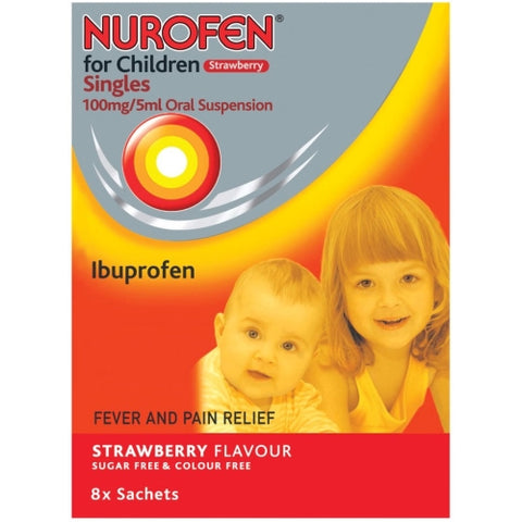 Reckitt Benckiser Nurofen Strawberry Single Sachets x8 for Children