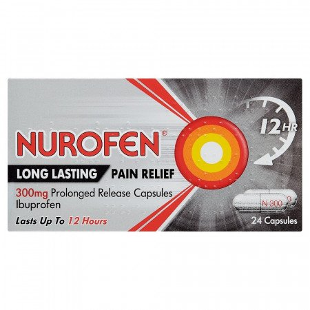 Nurofen Long Lasting Pain Relief/Sustained Release 300mg Capsules x 24 (Max 2 Packs/Order)