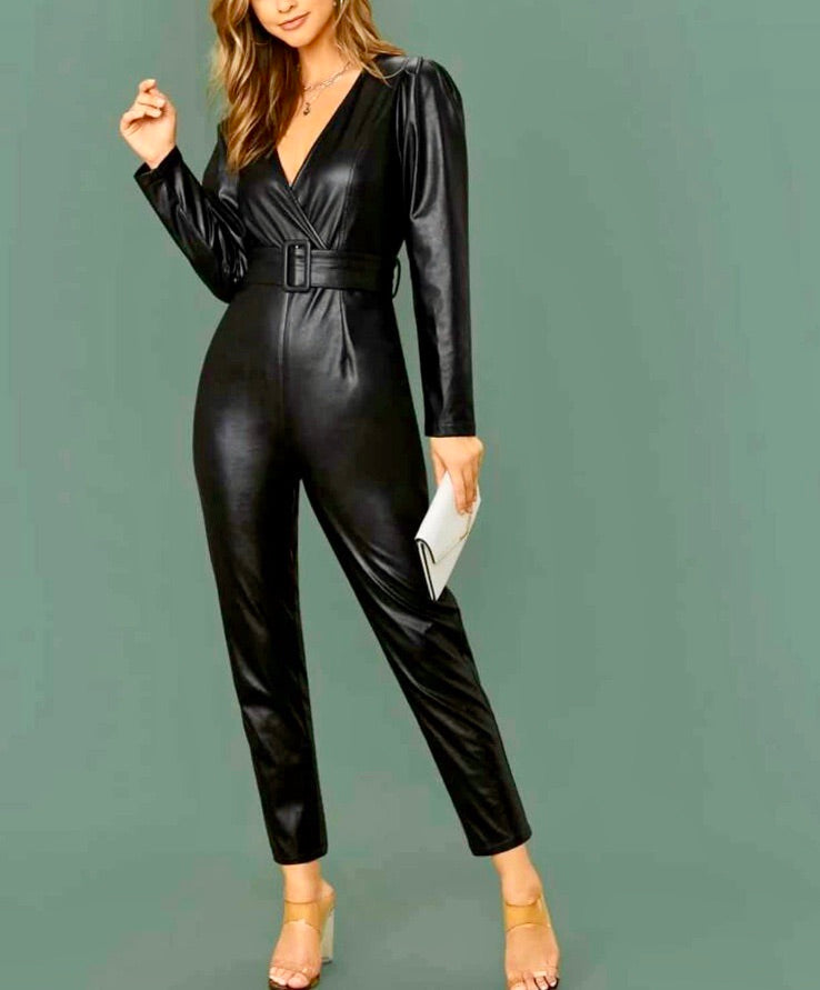 Womens leather feel jumpsuit