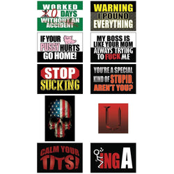 Funny Hard Hat & Helmet Stickers, 10 Pack