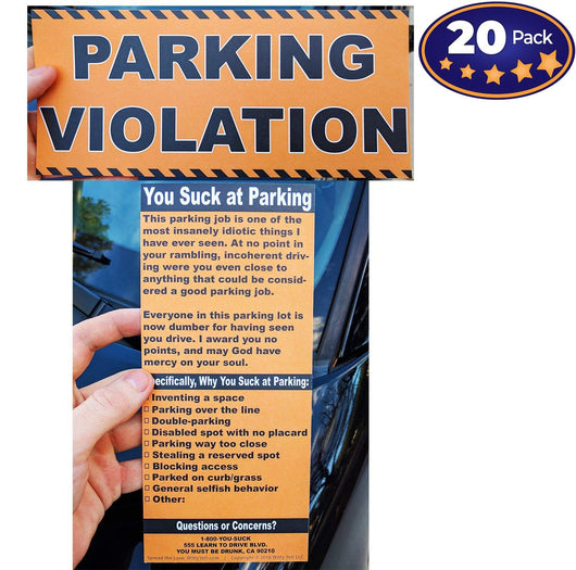 photograph regarding Bad Parking Cards Printable called Complete-Sizing Phony Parking Ticket 20 Pack Witty Yeti