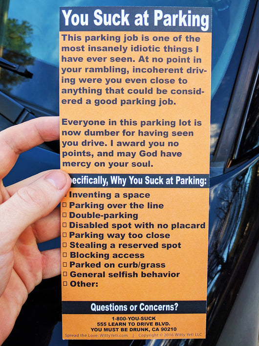 photo relating to Bad Parking Cards Printable identified as Complete-Dimension Bogus Parking Ticket 20 Pack Witty Yeti